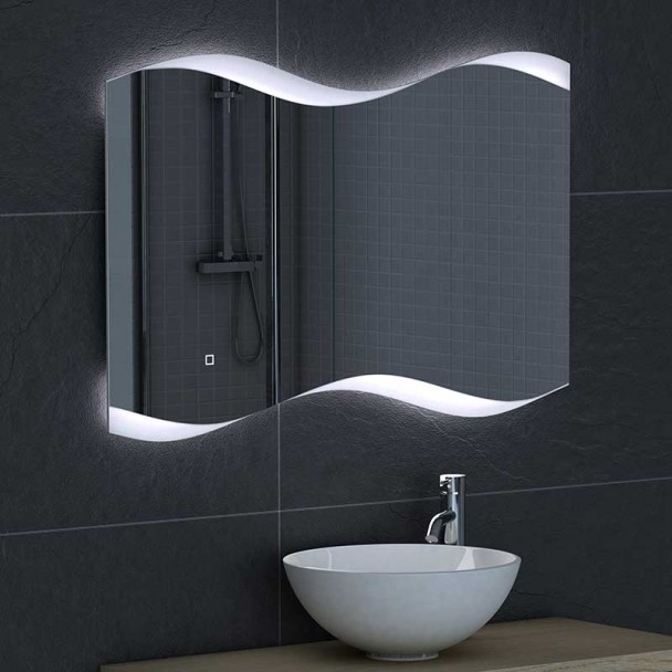 Miroir led de mod ne la salle de bain - Miroir loupe salle de bain ...