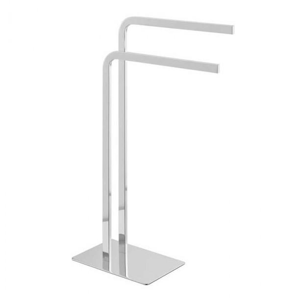 Serviette rack stand Double Chromé Courbé Duo 72 cm